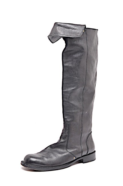 """Item - Black Leather 1-1/8"""" Heel Over The Knee Fold Over Boots/Booties Size EU 41 (Approx. US 11) Regular (M, B)"""