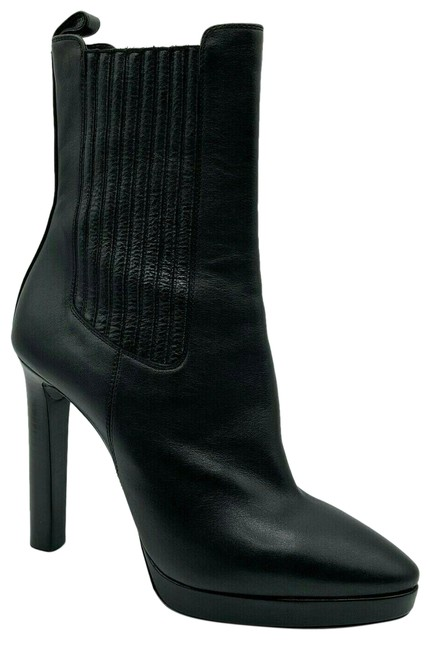 Item - Black Women's Leather Platform Heel Ankle 37.5/Us 529470 Boots/Booties Size US 7.5 Regular (M, B)