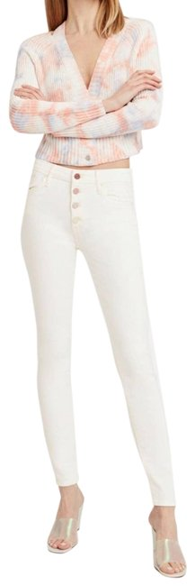 Item - White Light Wash Denim Pixie High-rise Button Fly Rainbow Skinny Jeans Size 32 (8, M)