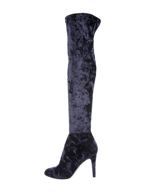 Item - Blue Toni Navy Crushed Velvet Over Knee Thigh High Boots/Booties Size EU 40 (Approx. US 10) Regular (M, B)