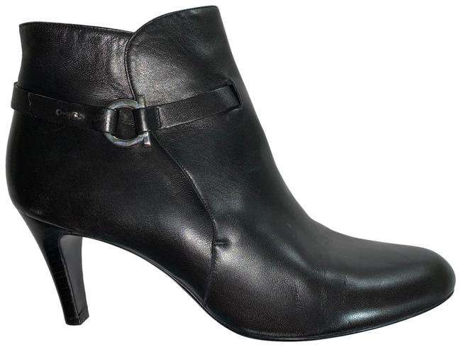 Item - Black Stacked Leather Heel Ankle Boots/Booties Size US 10.5 Wide (C, D)