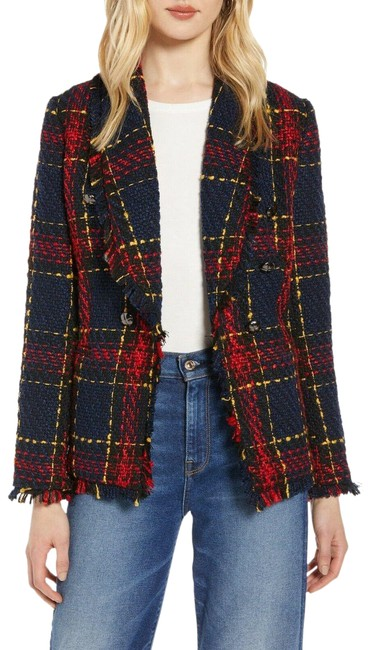 Item - Navy Blue Red Tweed Plaid Fitted Jacket Blazer Size 4 (S)