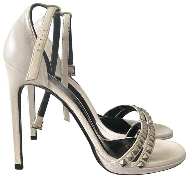 Item - White Ankle Strap with Rock Stud Accents Sandals Size US 7.5 Regular (M, B)