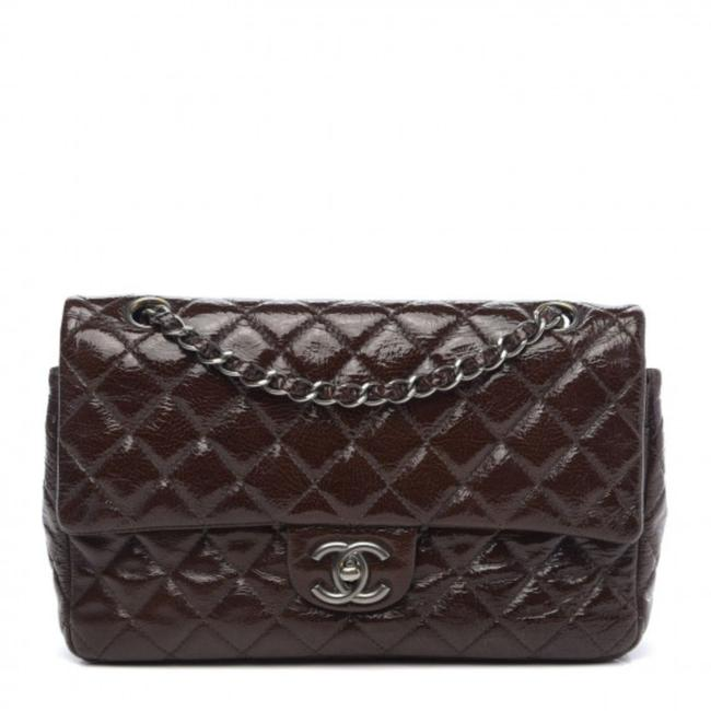 Item - Double Flap Crinkled Quilted Medium Brown Patent Leather Shoulder Bag