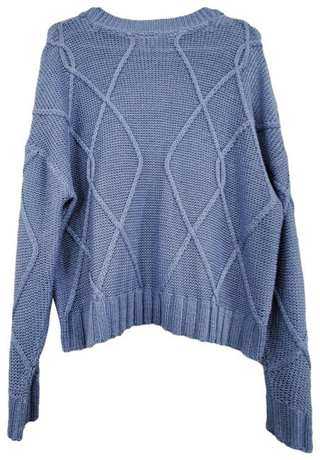 Item - Knit Crew Neck Slouchy Long Sleeve Blue Sweater