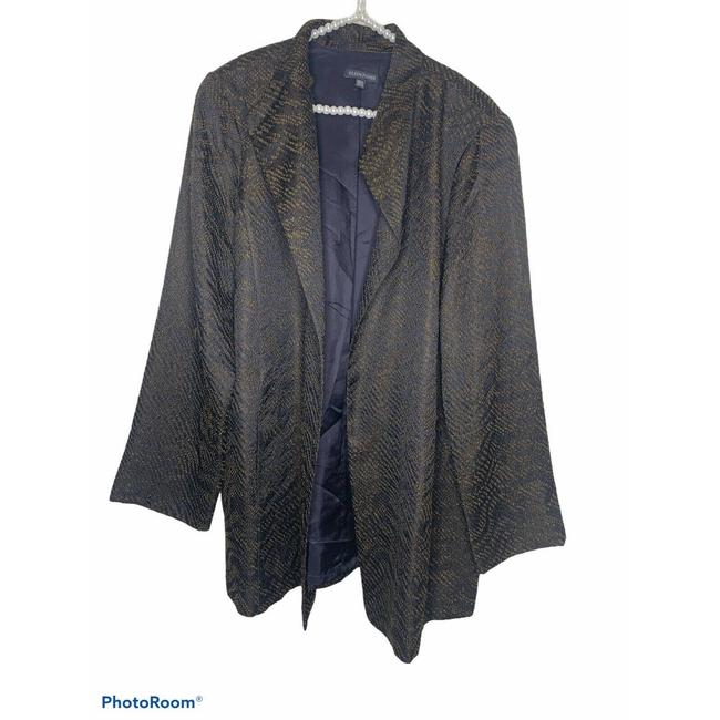 Item - Black XL Textured Print Silk Blend Open Jacket Blazer Size 16 (XL, Plus 0x)