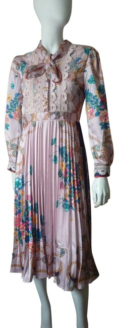 Item - Multicolor Floral Fit and Flare Mid-length Work/Office Dress Size 4 (S)