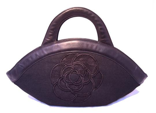 Chanel Cut Out Linen Linen Tote in Black