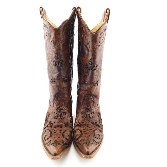 Item - Brown Distressed Leather Sequin Floral Detail Western Boots/Booties Size US 8 Regular (M, B)