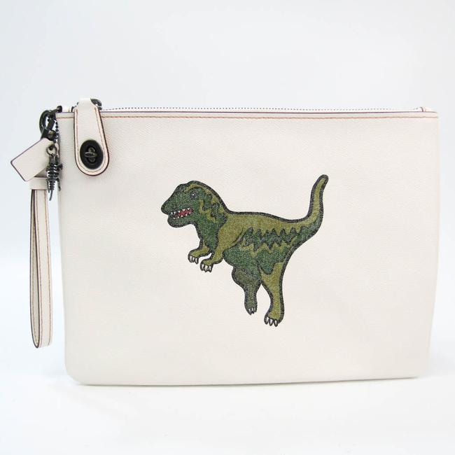 Item - Turn Lock Pouch with Lexi 68248 Unisex Green / Off-white Leather Clutch