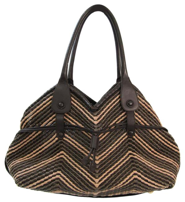 Item - Bag Braided Dh-21 6804 Women's Dark Brown / Grayish / Pink Beige Leather Tote