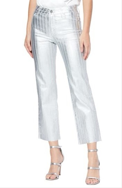 Item - Atley Metallic High Waist Raw Hem Ankle Flare Leg Jeans Size 8 (M, 29, 30)
