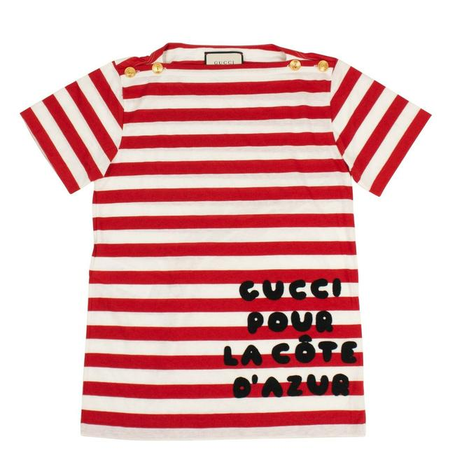 Item - Red/White Red/White Cote D'azur Striped Patch Cotton S Tee Shirt Size 4 (S)
