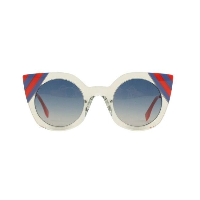 Item - Blue/Red Blue/Red Clear Plastic Cat Eye Sunglasses