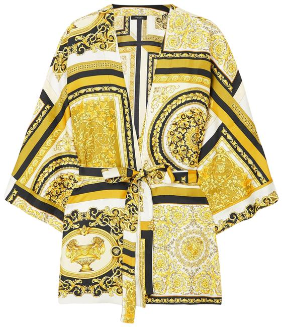 Item - Gold Belted Printed Silk-twill Robe Jacket Size 16 (XL, Plus 0x)