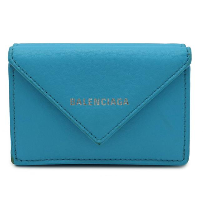 Item - Blue Paper Mini Compact Tri-fold Leather 391446 Wallet