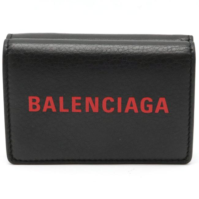Item - Black / Red Color Logo Everyday Tri-fold Compact Small Leather 505055 Wallet