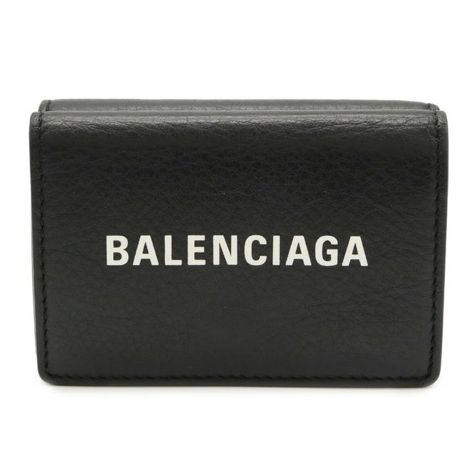 Item - Black / White Logo Everyday Tri-fold Compact Small Leather 505055 Wallet