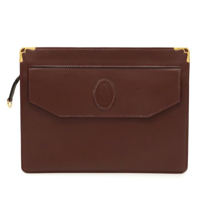 Item - Mustline Calf Hardware Bordeaux / Gold Leather Clutch