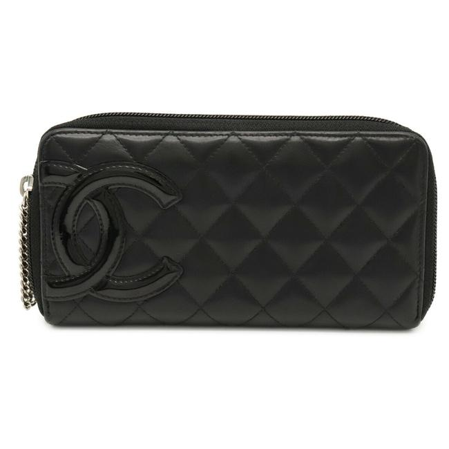 Item - Black / Pink Cambon Line Coco Mark Round Zipper Soft Calf Leather A50078 Wallet