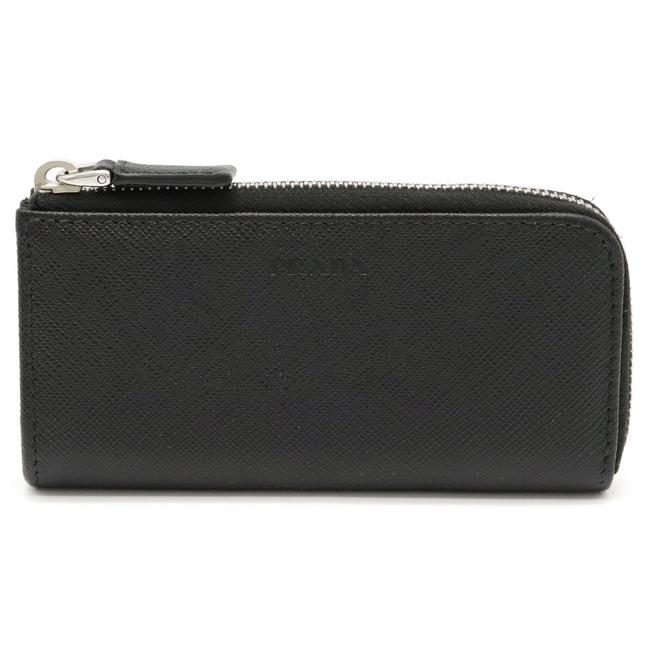 Item - Black / Nero Saffiano Coin Case Purse L-shaped Fastener Leather Silver Metal Fittings Key Ring Shortage Wallet
