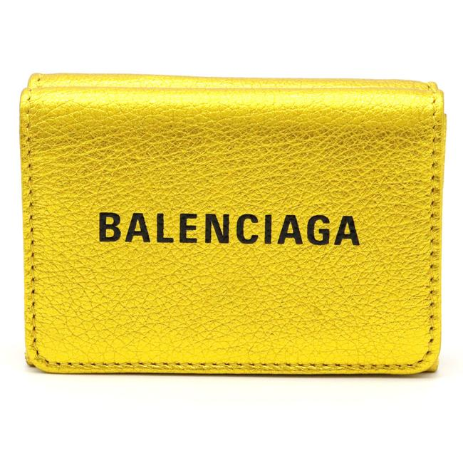 Item - Black / Gold Logo Everyday Tri-fold Compact Small Leather 505055 Wallet