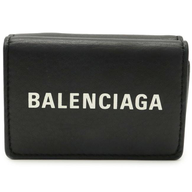 Item - Black / White Logo Everyday Tri-fold Compact Small Leather 516402 Wallet