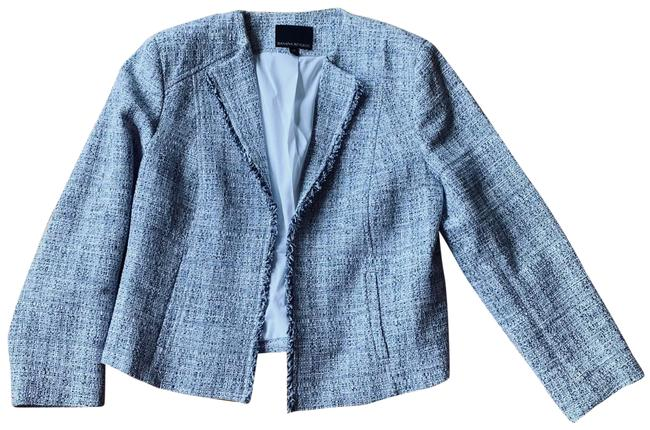 Item - Blue & White Tweed Fringe Blazer Size 14 (L)