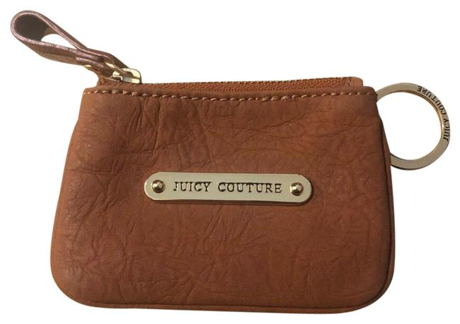 Item - Coin Purse with Keychain In Camel Brown Cowhide Leather Wristlet