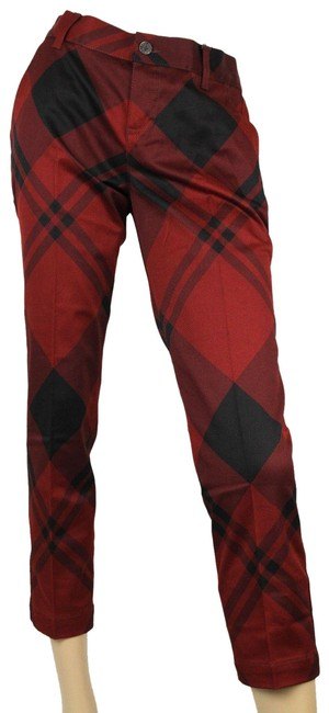 Item - Red/Black New Women's Check Print Holiday Pants 326489 6059 It 40 Capris Size 4 (S, 27)