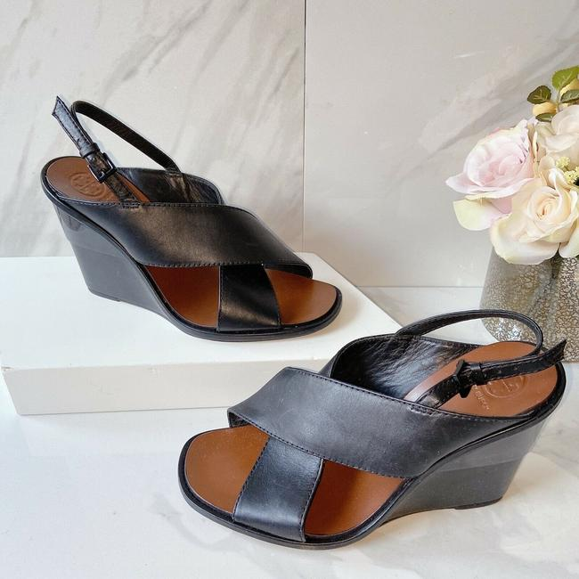 Item - Black Gabrielle 10mm Wedge Crisscross Logo Sandals Size US 8 Regular (M, B)