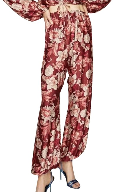 Item - Red New Woman Floral Jogger Elastic Pants... Activewear Bottoms Size 2 (XS, 26)