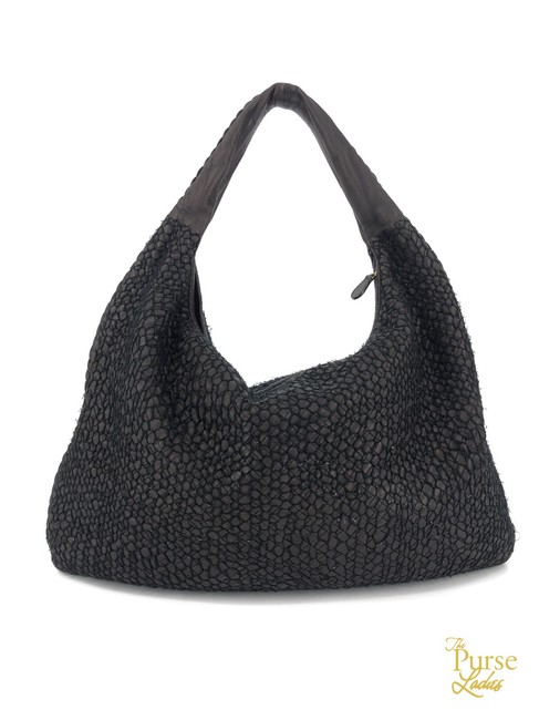 Item - Intrecciato Woven Knit Overlay #33866 Brown Lambskin Leather Hobo Bag