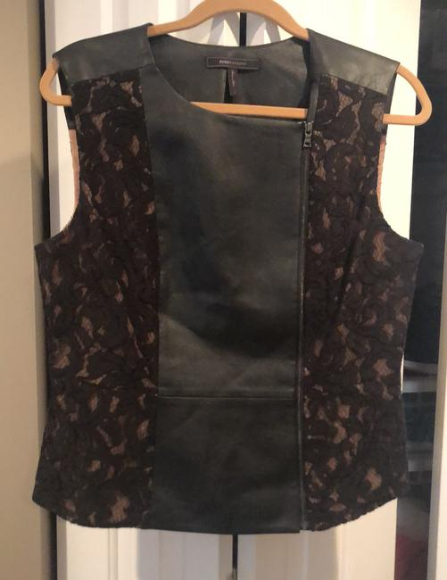 """Item - Bcbg Max Azria Sleeveless Leather and """"Becky"""" Black Top"""