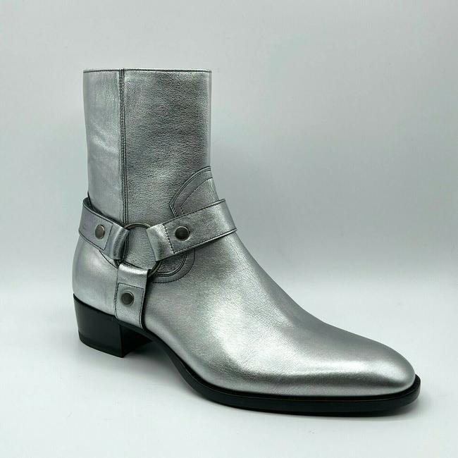 Item - Silver Metallic Leather Zip Up Ankle Boot 45/Us 12 579365 8163 Shoes