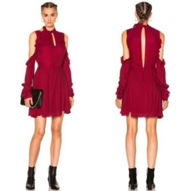 Item - Red Ruffle Cold Shoulder Flounce Mini Short Casual Dress Size 4 (S)