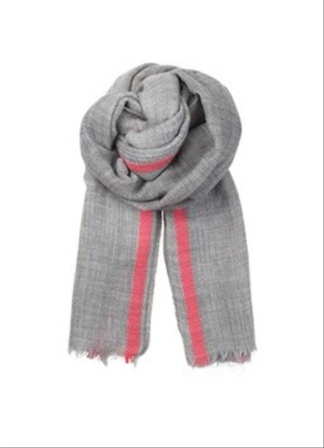 Item - Gray and Pink Wool Neon Stripe Cooper Scarf/Wrap
