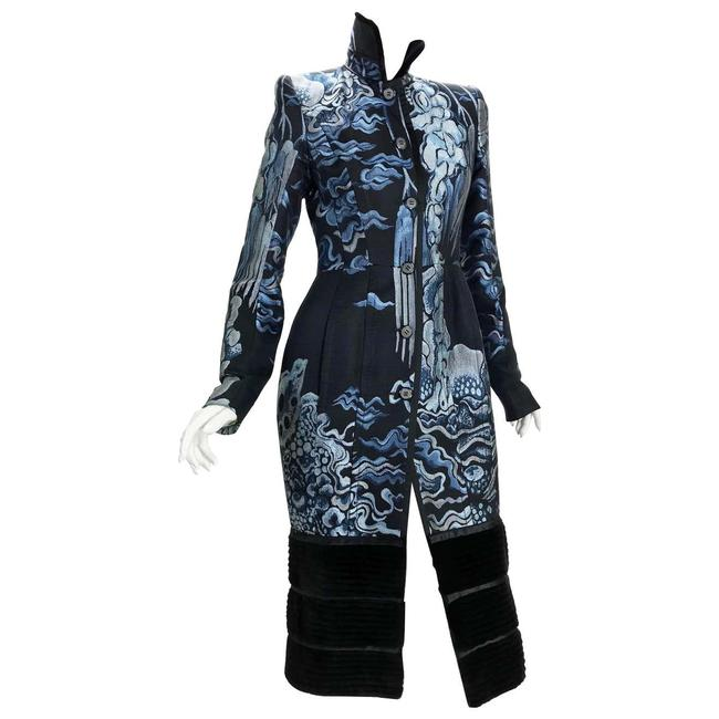 Item - Deep Blue Light Blue W F/W 2004 Tom Ford For Yves Chinoiserie Coat Size 4 (S)