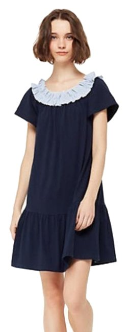 Item - Blue Off The Shoulder Ruffled Short Casual Dress Size 8 (M)