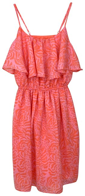 Item - Pink Coral Ruffle Flounce Short Casual Dress Size 4 (S)