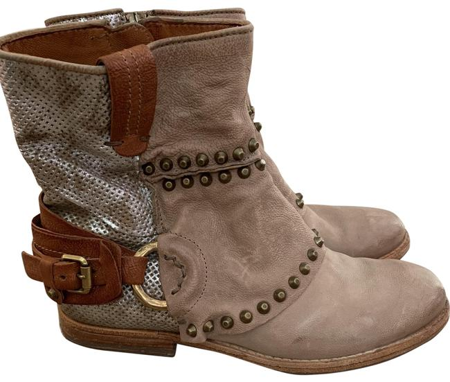 Item - Tan Brown and Silver Leather Short Boots/Booties Size EU 39 (Approx. US 9) Regular (M, B)