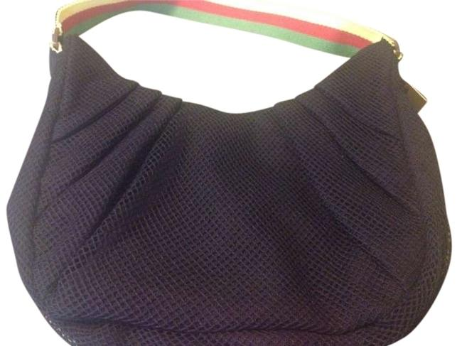 Item - Black with Red Green and Yellow Strap Mesh Shoulder Bag