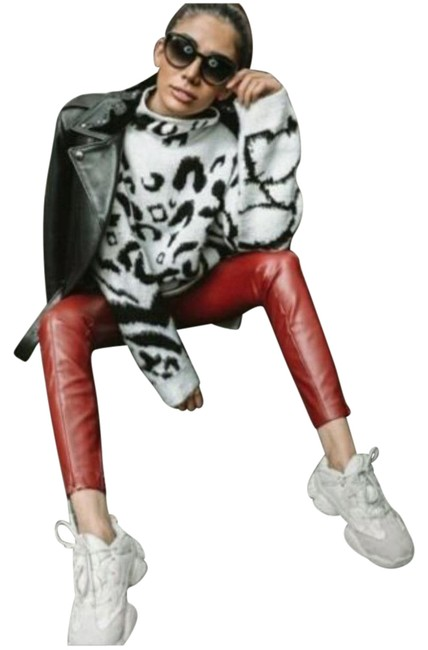 Item - Red New Faux Leather Leggings 8372/234 Pants Size 8 (M, 29, 30)