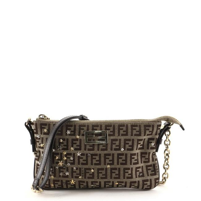 Item - Zip Pochette Embellished Zucchino Mini Brown Canvas Cross Body Bag