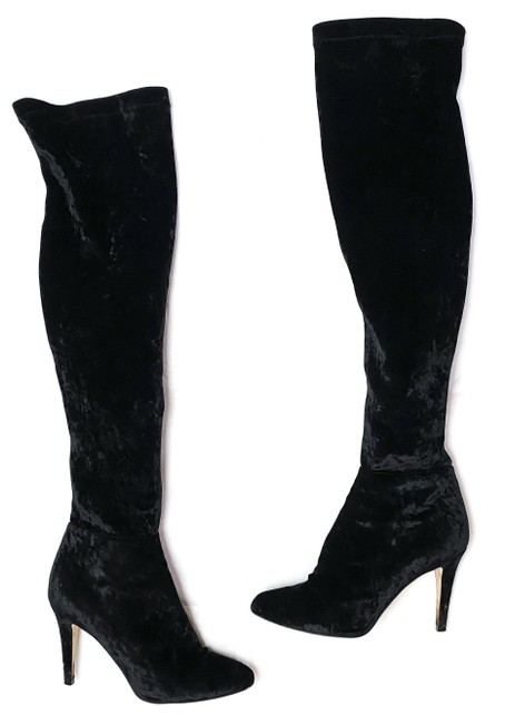 Item - Black Toni Crushed Velvet Over Knee Thigh High Boots/Booties Size EU 41 (Approx. US 11) Regular (M, B)