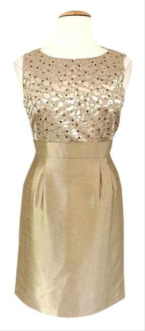 Item - Gold Sleeveless Sequin Detail Sheath Mid-length Cocktail Dress Size 14 (L)