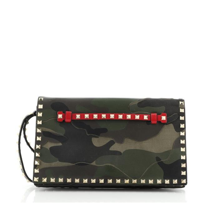Item - Rockstud Flap Camo and Canvas Multicolor Leather Clutch