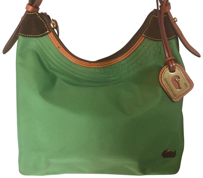 Item - Nylon/ Leather In Mint Condition Green Tan Hobo Bag