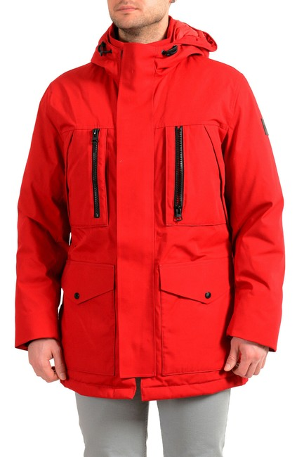 """Item - Red Men's """"Donatis"""" Hooded Long Down Parka Jacket Size 4 (S)"""