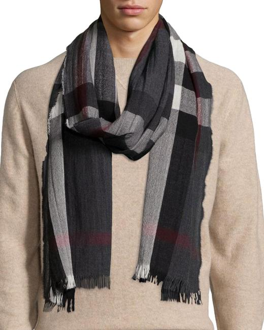Item - Charcoal Tonal Lightweight Check Wool Cashmere Scarf/Wrap